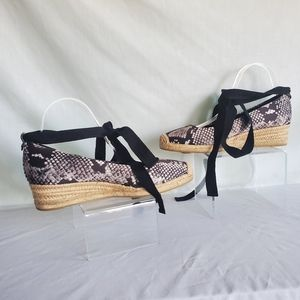 Tory Burch Heather Ankle-Wrap Wedge Espadrille 9.5